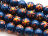 Navy Blue w/Flowers Glass Beads 10-12mm (JV1136)