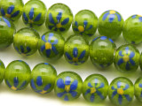 Lime Green w/Blue Flowers Glass Beads 10-12mm (JV1137)