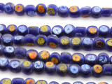 Cobalt Blue w/Designs Glass Beads 10mm (JV1090)