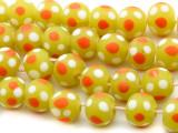 Green w/Orange & White Dots Glass Beads 10-12mm (JV1145)
