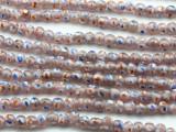 Transparent Pink w/Polka Dots Glass Beads 6-7mm (JV1052)