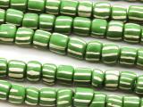 Green w/White Stripes Glass Beads 4-9mm (JV1105)