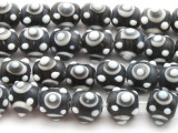 Charcoal Gray 'Eye' Glass Beads 12mm (JV1063)