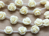 Cream Rose Resin Beads 10mm (RES530)