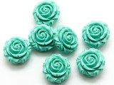 Teal Green Rose Resin Beads 16mm (RES543)