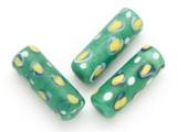 Green Cylinder Glass Bead 28mm (CB497)