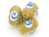 Lime Green 'Eye' Glass Bead 15-20mm (CB427)