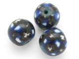 Black w/Blue & White Glass Bead 20mm (CB484)