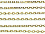 "Antique Brass Plated Aluminum Flat Cable Chain 3mm - 36""  (CHAIN14)"