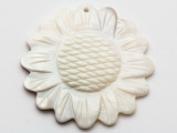 Mother of Pearl Carved Flower Shell Pendant 50mm (AP1452)
