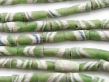 Green, Blue & White Striped Tube Sandcast Glass Beads 20mm (SC879)