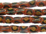 Dark Salmon Pink Painted Sandcast Glass Beads 9-10mm (SC886)