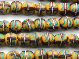 Yellow, Brown & Green Painted Sandcast Glass Beads 10-12mm (SC893)