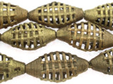 Ornate Brass Tabular Metal Beads 38mm - Ghana (ME339)