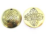 Rare Engraved Tibetan Dorje Amulet 29mm (AP1511)