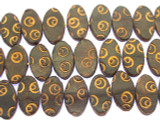 Dark Brown Oval Tabular Leather Beads 20mm (LB503)