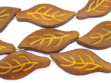 Brown Leaf Leather Beads 45mm (LB504)