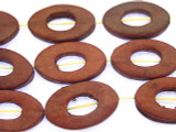 Red Oval Donut Leather Beads 30mm (LB516)