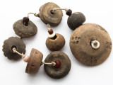 Old Carved Clay Spindle Whorl Beads - Guatemala (RF729)
