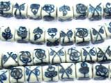Cube w/Flowers 8mm - Glazed Blue & White Porcelain Beads (PO378)