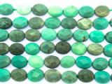 Green Moss Opal Faceted Oval Tabular Gemstone Beads 7mm (GS3536)