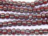 Red, Black & White Striped Trade Beads 7mm (AT7013)