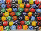 Colorful Ladybug Lampwork Glass Beads 13mm (LW1560)