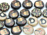 Brown Owls & Trees Decoupage Beads 16mm (DC35)