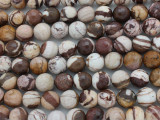 Brown Zebra Jasper Faceted Round Gemstone Beads 10mm (GS3610)