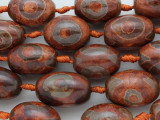 Rust Tibetan Agate Barrel Gemstone Beads 26-28mm (GS3625)