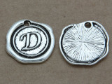 D - Pewter Wax Seal Stamp Charm 18mm (PW761)