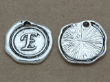 E - Pewter Wax Seal Stamp Charm 18mm (PW762)