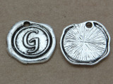 G - Pewter Wax Seal Stamp Charm 18mm (PW764)