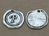 P - Pewter Wax Seal Stamp Charm 18mm (PW773)