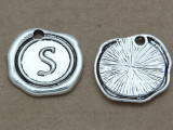S - Pewter Wax Seal Stamp Charm 18mm (PW776)