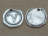 V - Pewter Wax Seal Stamp Charm 18mm (PW779)