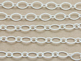 "Silver Plated Copper Textured Oval & Round Link Chain 8mm - 36""  (CHAIN77)"