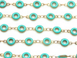 "Brass w/Turquoise Enamel Donut Link Chain 11mm - 36""  (CHAIN83)"