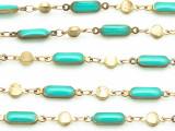 "Brass w/Turquoise Enamel Link Chain 15mm - 36""  (CHAIN85)"