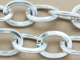 "Silver Plated Aluminum Flat Oval Link Chain 25mm - 36""  (CHAIN33)"