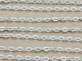 "Silver Plated Aluminum Flat Oval Link Chain 3mm - 36""  (CHAIN41)"