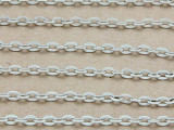 "Antique Silver Plated Aluminum Flat Oval Link Chain 4mm - 36""  (CHAIN46)"