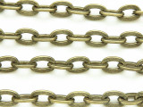 "Antique Brass Plated Iron Flat Oval Link Chain 10mm - 36""  (CHAIN58)"