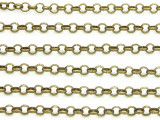 "Antique Brass Plated Iron Rolo Chain 3mm - 36""  (CHAIN70)"