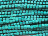 Teal Cube Wood Beads 4mm (WD892)