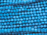 Bright Blue Cube Wood Beads 4mm (WD894)