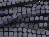 Navy Blue Cube Wood Beads 6mm (WD909)