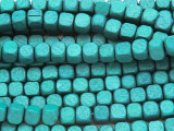 Teal Cube Wood Beads 6mm (WD910)