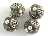 Dark Gray & Tan Ceramic & Metal Bead 18mm (CM61)