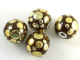 Brown Ceramic & Metal Bead 17mm (CM68)